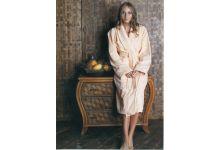 Банный халат MEKO LT008-2 размер 52 персиковый из велюра.