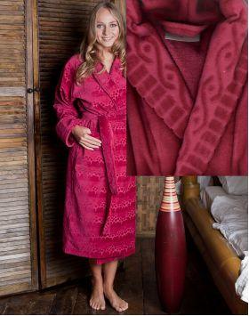 Банный халат MEKO LT007-1 размер 50 бордо из велюра