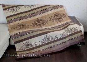 Плед Пантекс Орнамент коричневый 180х220 хлопок-акрил