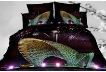 Постельное белье 3D Cleo 41/509-3D семейное из сатина 3D