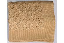 Плед вязаный Valtery Ажур - Соломенный 175х210