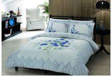 Постельное белье TAC CAROL белый/голубой евро из сатина люкс